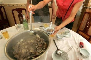 A traditional recipe from the Guan Chou province of China made from snake, cat and chicken in Shenzhen, China on May 19, 2006.