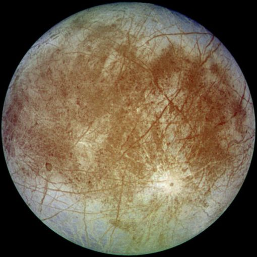 Europa, as seen by the Galileo spacecraft (Wikipedia)