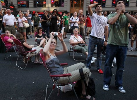 Disbelief: Fans in Times Square, New York, react with shock and disbelief to the news that the King of Pop has died