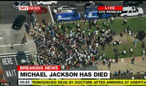 Crowds gather: Fans soon start gathering outside the hospital as news of Jackson's collapse spreads