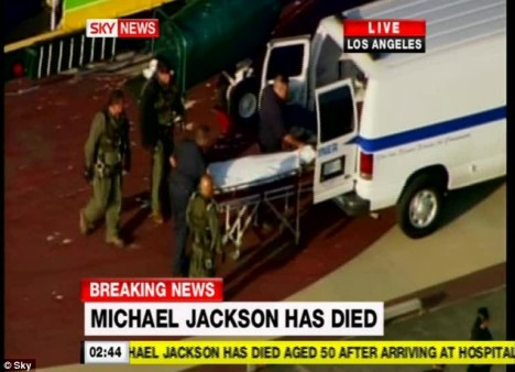 Tragedy: The body of Michael Jackson is transported out of the UCLA Medical Centre after the singer's tragic death