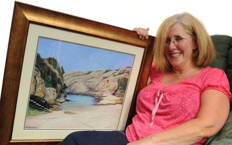 The oil painting depicts a photo taken on the couple's final holiday last June  Photo: CATERS  (telegraph.co.uk)