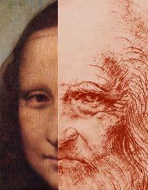 Detail rincian ukuran sebenarnya dari lukisan  Mona Lisa dan potret diri Leonardo.