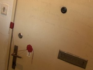 The door of Hedviga Golik, who was found dead in her bed after 41 years.